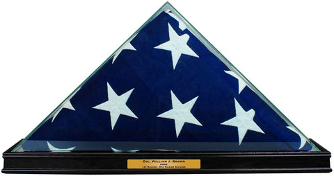 Perfect Cases All Glass Flag Display Case for 9.5' X 5' Flag with Engraving (Black).