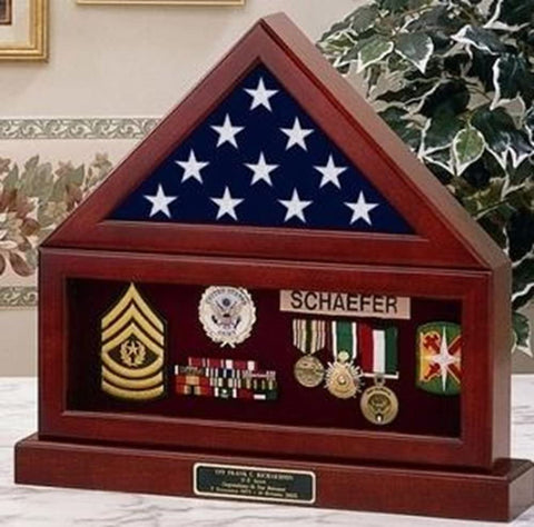 Flag and Pedestal Display Cases, Burial/Funeral Flag Display Case Military Shadow Box with Pedestal Stand, Solid Wood.