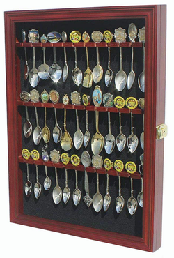 Tea Spoon Souvenir Spoon Display Case Rack Cabinet, Real Glass Door, (Cherry Finish)