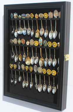 Tea Spoon Souvenir Spoon Display Case Rack Cabinet, Lockable, Black
