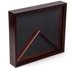 Flag Display Case with Glass Front and Medal Box, Velvet Backing – Mahogany