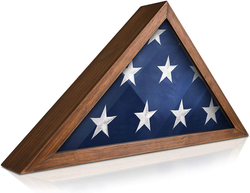 Solid Wood Military Flag Display Case for 9.5 X 5 American Veteran Burial Flag (Rustic Brown)