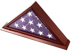 5x9 Burial/Funeral/Veteran Flag Elegant Display Case with Base, Solid Wood, Cherry Finish