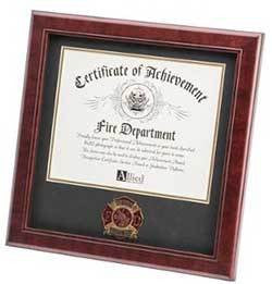 Firefighter Medallion Certificate Frame, mahogany made