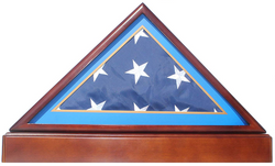 Burial/Funeral Flag Display Case Frame Military Shadow Box with Pedestal Stand