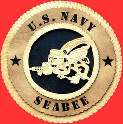 Flag Connections SeaBee Wall Tribute, Seabee Wood Wall Tribute, Seabee emblem