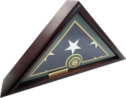 5x9 Burial/Funeral/Veteran Flag Elegant Display Case, Solid Wood, Cherry Finish, Flat Base (5x9, Army)