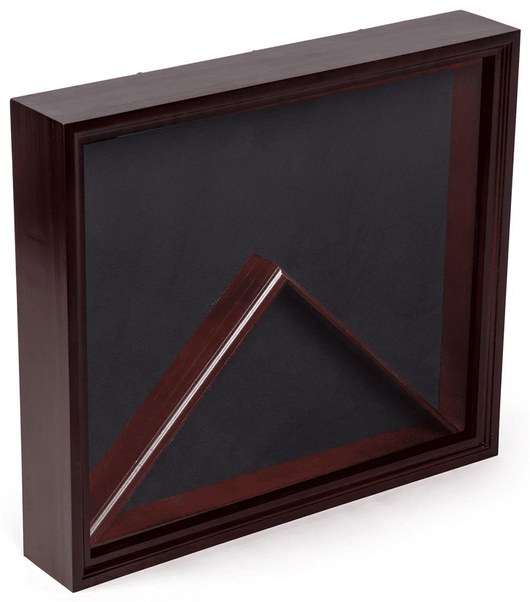 Military Memorabilia Display Case, Solid Wood with Black Velvet Backer, Glass – Cherry Finish