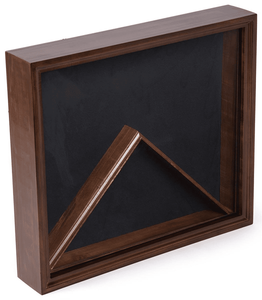 Military Flag and Ensign Display Cases, Wood and Glass Construction, Black Velvet Backing – Cherry Stain Finish