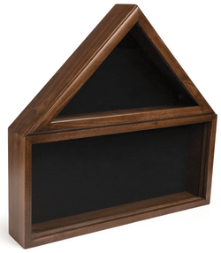 Military Shadow Box, Solid Wood with Tempered Glass Front – Cherry Finish