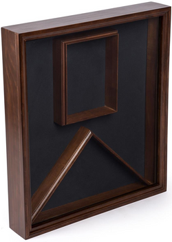 Flag and Photo Display Case, Wood with Glass Cover, Wall or Tabletop Placement – Cherry Finish
