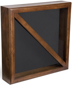 Flag Display Box, Tempered Glass & Pine Wood Construction – Cherry, Black Finish