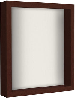 Mahogany Shadow Box Frame with Soft Linen Back | Displays Memorabilia and Photos up to 11x14 Inches. Shatter-Resistant Glass.