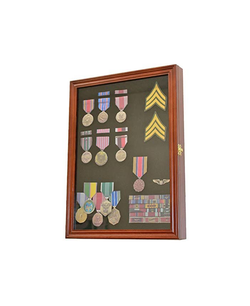 Walnut Finish Display Case Wall Frame Cabinet for Military Medals, Pins, Patches, Insignia, Ribbons, Brooches.
