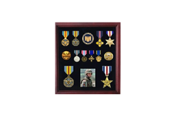 Military Medal Display case, American medal Shadowbox - Cherry Finish