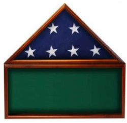 Flag Memorabilia Display Case With a Flag Green Background