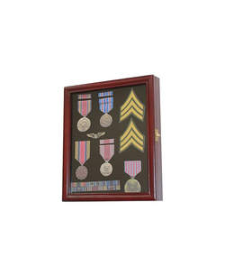 Display Case Cabinet Shadow Box for Military Medals, Pins, Patches, Insignia, Ribbons cherry finish