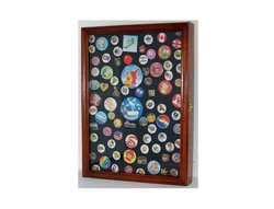Collector Medal/Lapel Pin Display Case Holder Cabinet Shadow Box (Walnut Finish).