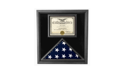 Premium USA-Made Solid wood Flag Document Case Black Finish.