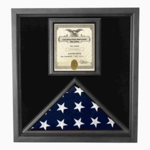 Flag and Certificate Case Black Frame, American Made.