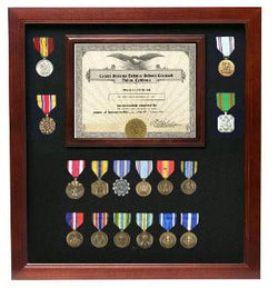 Military Certificate with Medal Display Case Cherry Finish