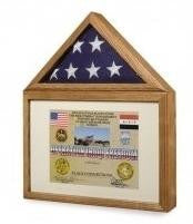 Large 3x5 Flag And Military Medals Display Case Cabinet