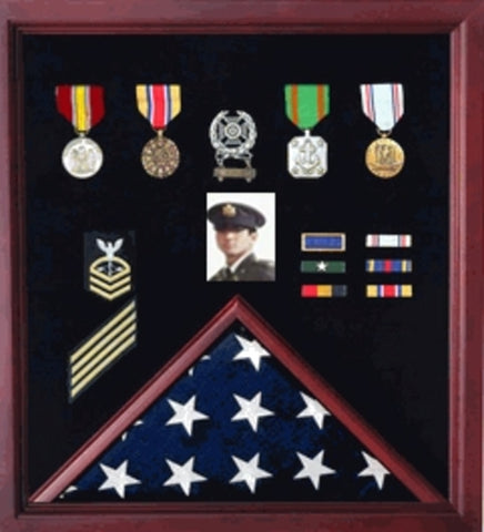 Flag Display Case Combination For Medals and Photos Top Quality.