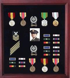 Extra Large Medal Display Case Cherry Finish.