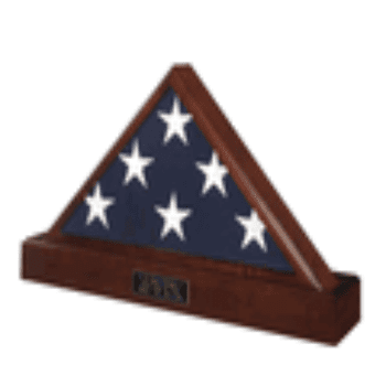 Military Flag Case And Pedestal Urn.