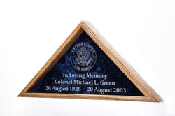 Flag Display Case w/Military Emblem - Includes 3 Lines of Text Personalization! - for 5'x9.5'