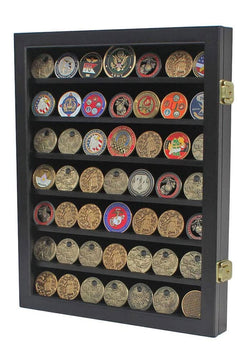 Military Challenge Coin Display Case Cabinet Poker Chip Rack Wood Cabinet, Glass Door...
