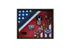 2 Flag Display Case, Coast Guard Gifts, USCG, Shadow Box, USCG Shadow Box, Coast Guard Cutter 3x5