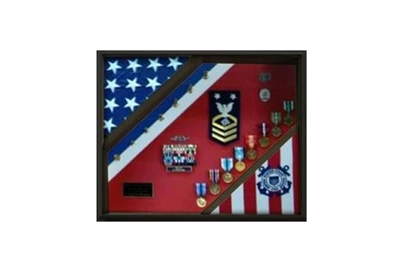 2 Flag Display Case, Coast Guard Gifts, USCG, Shadow Box, USCG Shadow Box, Coast Guard Cutter 5x9.5