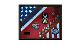 2 Flag Display Case, Coast Guard Gifts, USCG, Shadow Box, Coast Guard Cutter - Walnut