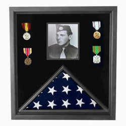 Military Photo Flag and Medal Display Case Black Frame