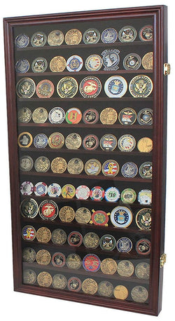 Large Military Challenge Coin Display Case Cabinet Rack Holder