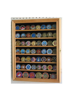 Lockable Military Challenge Coin Display Case Cabinet Rack Holder (Oak Finish)