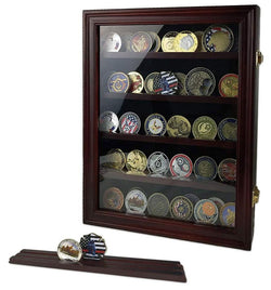 Military Challenge Coin Display Case Cabinet Rack Holder Shadow Box