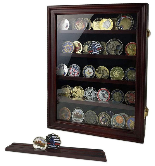 Military Challenge Coin Display Case Cabinet Rack Holder Shadow Box with Glass Door (Mahogany Finish)