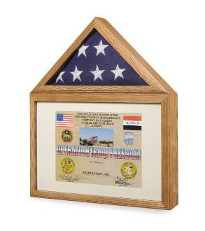 Flag Medal Display case, Flag and Medal Shadowcase cherry finish