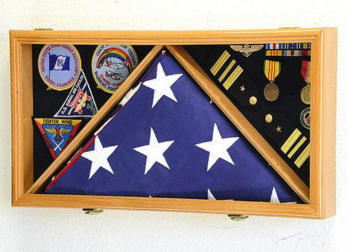 Large Flag & Medals Military Pins Patches Insignia Holds up to 5x9 Flag Display Case Frame Cabinet Shadowbox