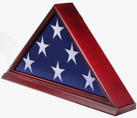 Solid Wood Elegant 5 x 9.5' Flag Display Case for Burial/Funeral/Veteran Flag, Cherry