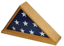 Solid Wood Memorial 5' x 9.5' Flag Display Case Frame for Burial/Funeral/Veteran Flag, (Oak Finish)
