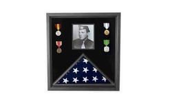 Military Photo Flag and Medal Display Case - folded 3X5 American flag