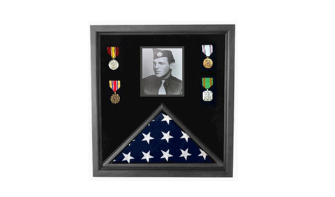 Military Photo Flag and Medal Display Case 3x5