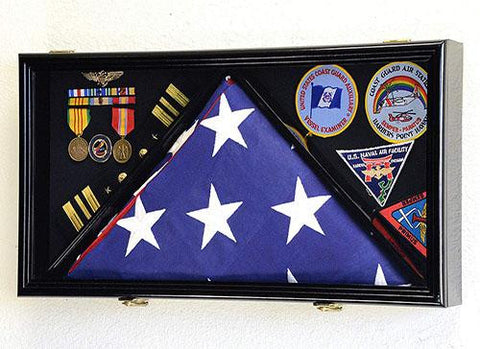 Large Flag & Medals Military Pins Patches Insignia Holds up to 5x9 Flag
