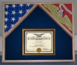 Military Flag Case For 2 Flags and Certificate Display Case.