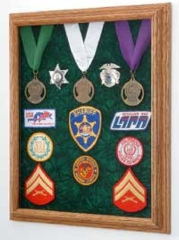 Awards Display Case, Military Medal Display case-Walnut