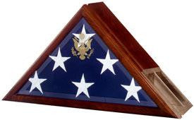 Funeral Flag Case, Flag and Urn Built In Solid wood finish back