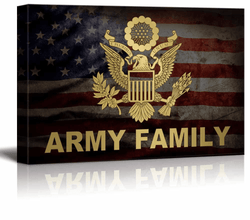 Military Family Canvas Wall Art - Army Family - Gallery Wrap Modern Home Decor 24x36 inches